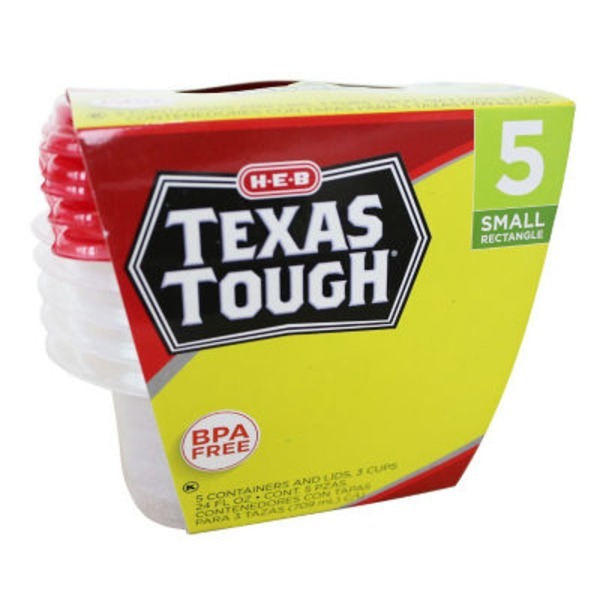 H-E-B Texas ToughSmall Rectangle Containers And Lids