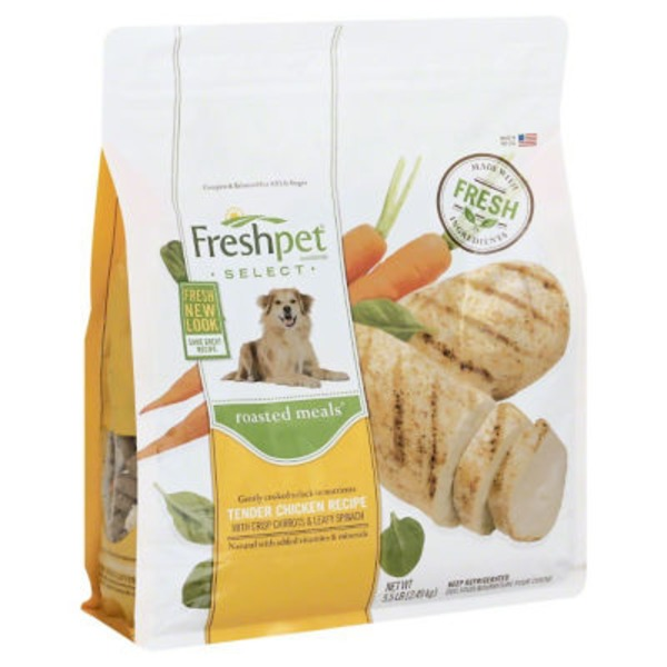 Freshpet Select Dog Food Roasted Meals Chicken Recipe with Carrots & Spinach