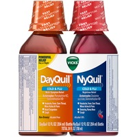 Vicks NyQuil Cold & Flu Nighttime Relief and DayQuil Cold & Flu Multi-Symptom Relief Liquid Combo Pack 12 Oz Each Respiratory Care