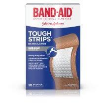 BAND-AID® Brand TOUGH-STRIPS® Adhesive Bandages, Durable Protection for Minor Cuts and Scrapes, Extra Large, 10 Count