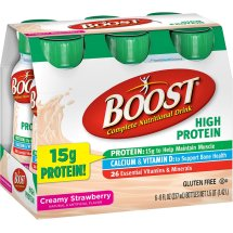 BOOST HIGH PROTEIN Complete Nutritional Drink, Strawberry Bliss, 8 fl oz Bottle, 6 Pack
