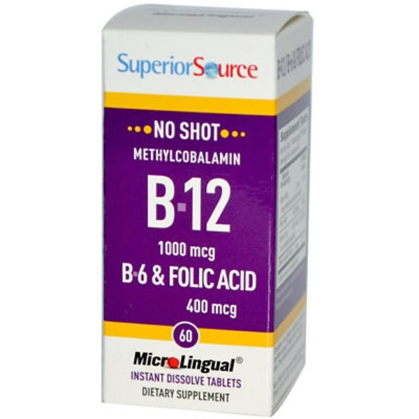 Superior Source B12 1000mcg B6 & Folic Acid 400 mcg Dissolving Tablets