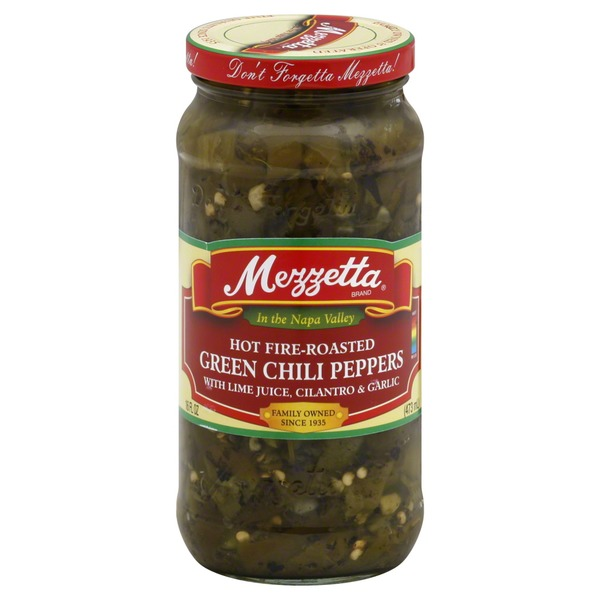 Mezzetta Chili Peppers, Green, Hot Fire-Roasted