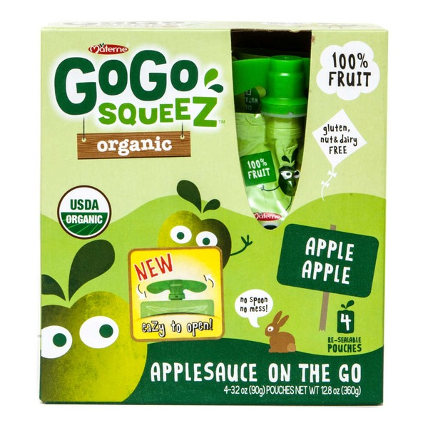 GoGo Squeez Organic Applesauce On The Go Apple Apple - 4 CT