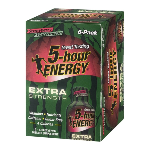 5-Hour Energy Extra Strength Dietary Supplement Strawberry Watermelon - 6 CT
