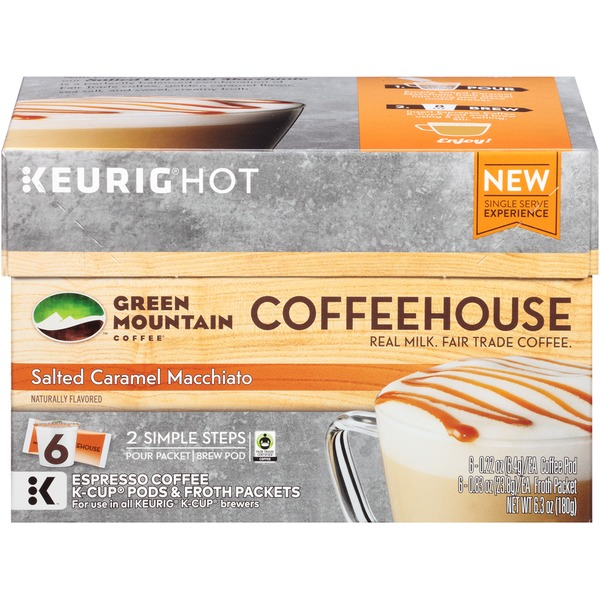 Green Mountain Coffee Coffee Coffeehouse Salted Caramel Macchiato K-Cup Pods & Froth Packets