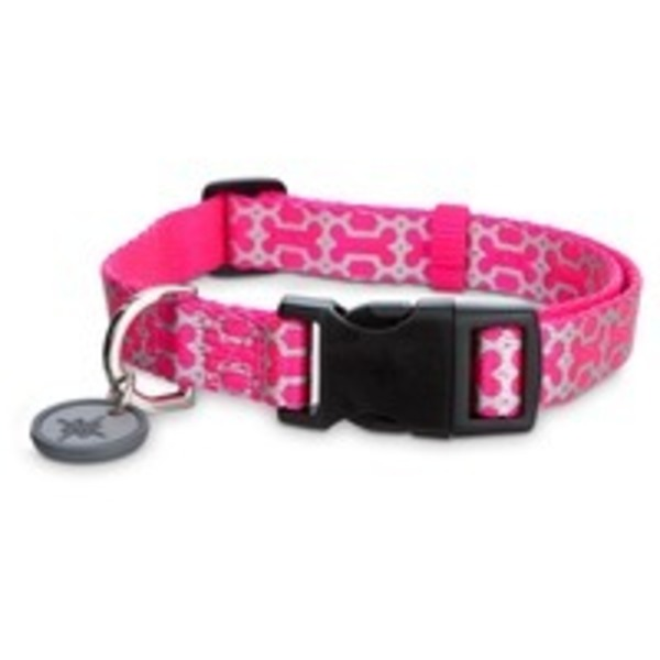Good2 Go Medium Pink Reflective Bone Dog Comfort Collar