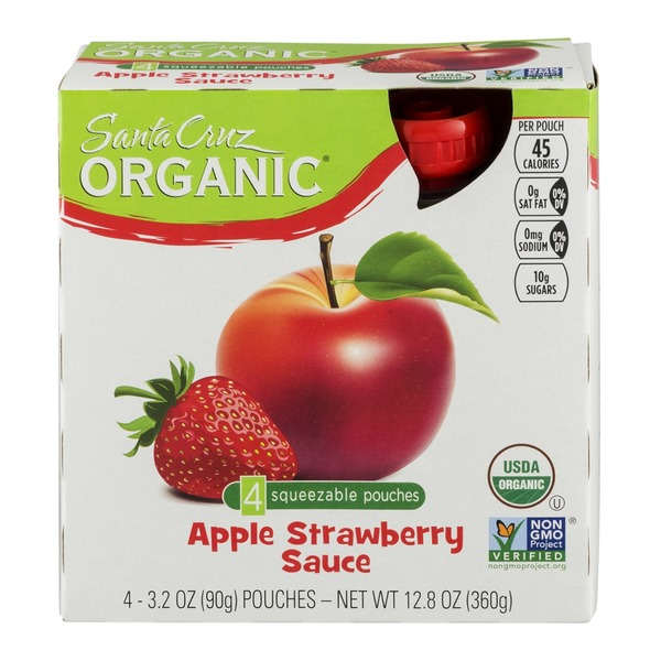 Santa Cruz Organics Apple Strawberry Sauce Squeezable Pouches - 4 CT