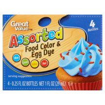 Great Value Assorted Food Color & Egg Dye, 0.25 fl oz, 4 count