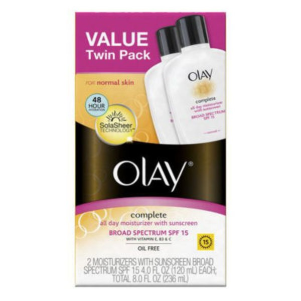 Olay Complete Complete All Day Moisturizer with Broad Spectrum SPF 15 Normal, Twin Pack  Female Skin Care