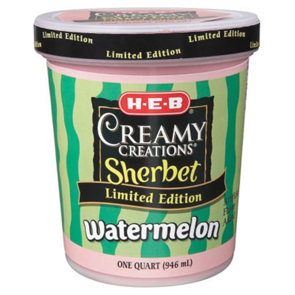 H-E-B Creamy Creations Watermelon Sherbet Ice Cream