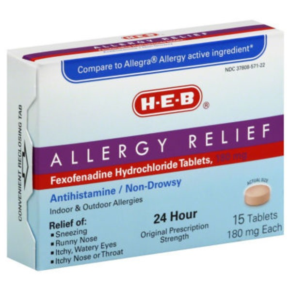 H-E-B Allergy Relief 24 Hour Original Prescription Strength Fexofenadine 180 Mg Tablets