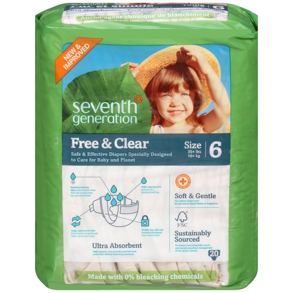 Seventh Generation Baby Free & Clear Stage 6 35+ Lbs. Diapers