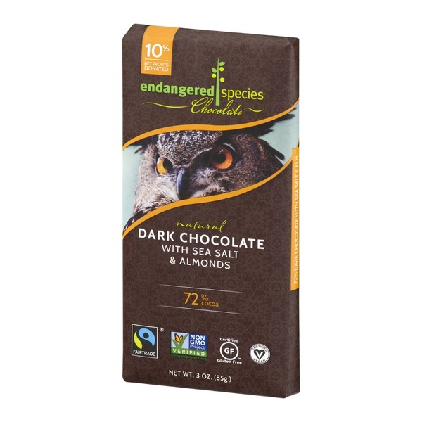 Endangered Species Chocolate Dark Chocolate With Sea Salt & Almonds 72% Cocoa