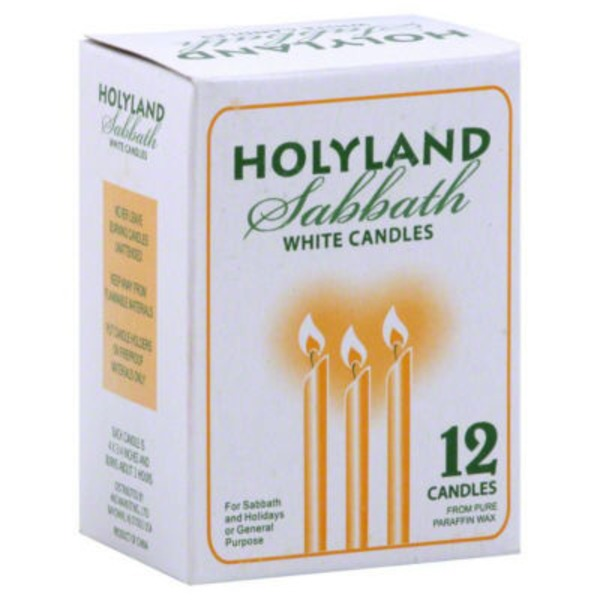 Yehuda Shabbos Candles White Candles - 12 CT