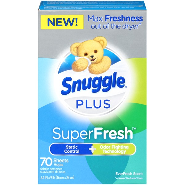 Snuggle Plus SuperFresh EverFresh Scent Dryer Sheets Fabric Softener