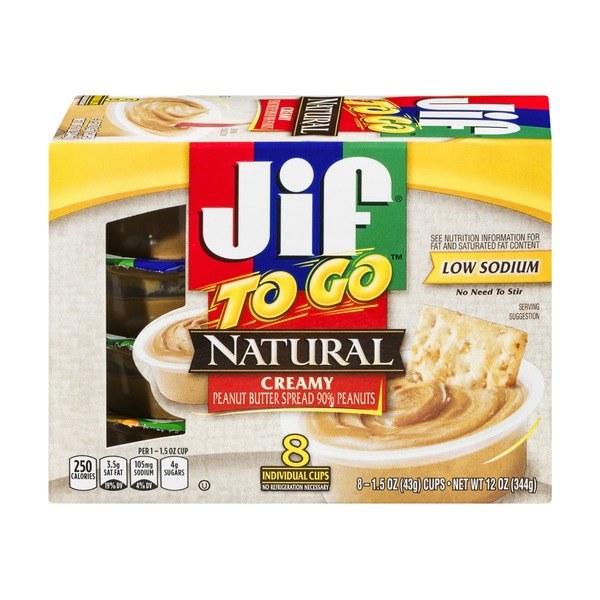 Jif To Go Natural Creamy Peanut Butter Spread - 8 CT