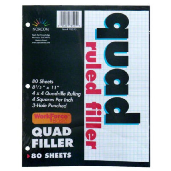Norcom Quad Ruled Filler Paper 8 1/2 X 11