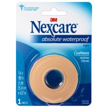 Nexcare Absolute Waterproof Tape, From the #1 Leader in U.S. Hospital Tapes, 1 in. x 5 yds., Tan, 1 Pack