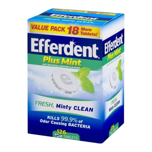 Efferdent Plus Mint Anti-Bacterial Denture Cleanser Tablets - 126 CT