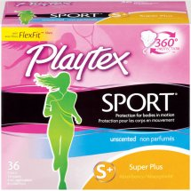Playtext Sport Super Plus Unscented Plastic Tampons, 36 count