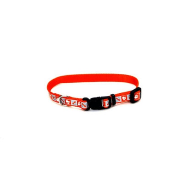 Coastal Pet 3/8 Inch Reflective Adjustable Red Collar With Bone Print