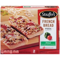 Stouffer's French Bread Pizza Made with sausage, pepperoni, mushrooms, red & green peppers & onions Deluxe French Bread Pizza