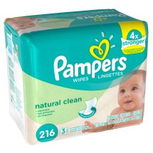 Pampers Natural Clean Wipes Refills, Unscented, 3 packs of 72 (216 count)