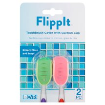 Evri Flippit Toothbrush Cover with Suction Cup, 2 count