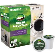 Green Mountain Coffee French Vanilla, Keurig Single-Serve K-Cup Pods, Light Roast, 18 count