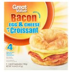 Great Value Bacon Egg & Cheese on a Croissant Sandwiches, 3.66 oz, 4 count