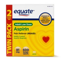 Equate Low Dose Aspirin Enteric Coated Tablets, 81 mg, 250 Ct, 2 Pk