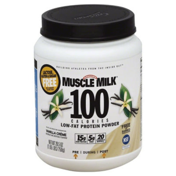 Muscle Milk Dietary Supplement, Vanilla, Low-Fat Protein Powder, Lactose, Gluten & Sugar Free, Jug