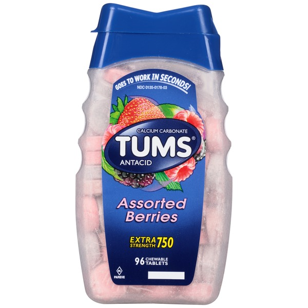 Tums Assorted Berries Extra Strength Chewable Tablets Antacid