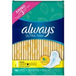 Always Ultra Thin Pads with Wings, Regular, Unscented, 46 Ct, Size 1