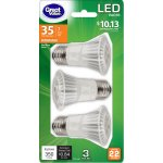 Great Value LED Dimmable PAR16 (E26) Light Bulbs, 7W (35W Equivalent), Soft White, 3-Pack