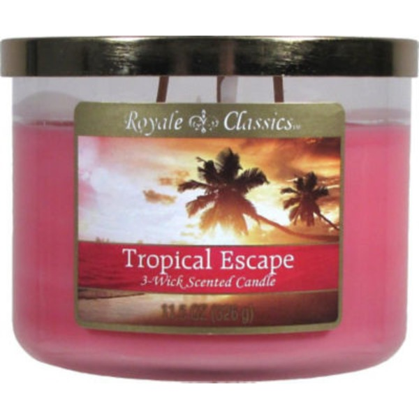 Candle Lite Royale Classics Candle, 3-Wick, Tropical Escape Scented
