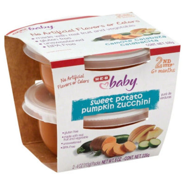 H-E-B Baby 2nd Step Sweet Potato Pumpkin Zucchini Baby Food Cups