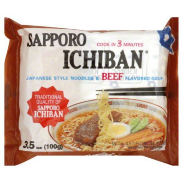 Sapporo Ichiban Soup, Japanese Style Noodles & Beef Flavored