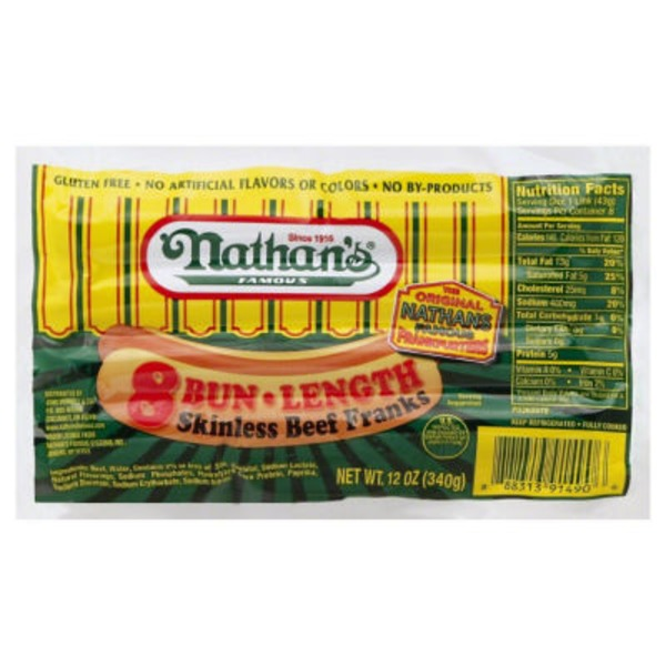 Nathan's Bun Length Skinless Beef Franks