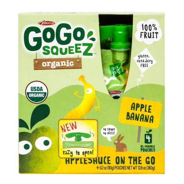 Materne GoGo Squeez Organic Applesauce On The Go Apple Banana - 4 CT