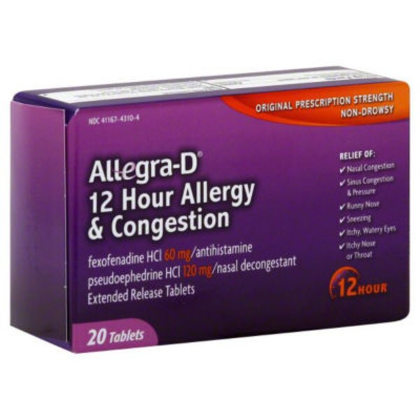 Allegra-D Allergy & Congestion Non-Drowsy Original Prescription Strength 12 Hour - 20 CT