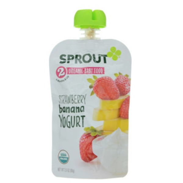 Sprouts Baby Food, Organic, Strawberry Banana Yogurt, 2 (6 Months & Up)