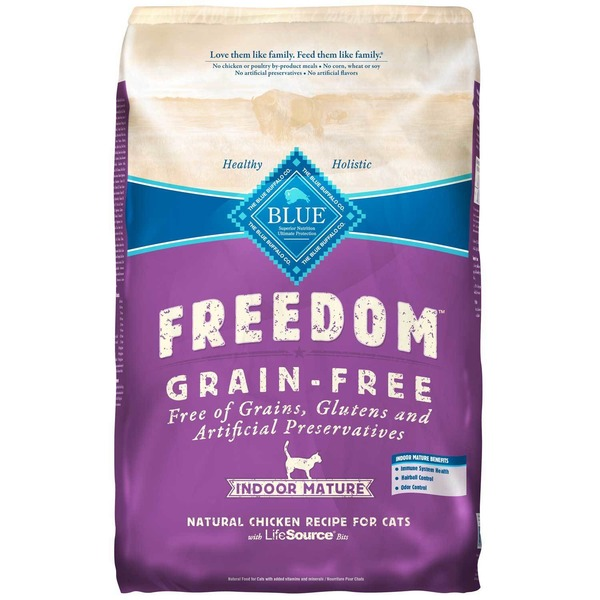Blue Buffalo Freedom Grain-Free Indoor Mature Natural Chicken Recipe for Cats with Lifesource Bits