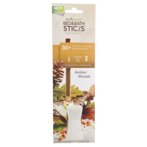 Enviroscent Bed & Bath Sticks, Amber Woods
