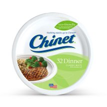 Chinet Classic White Dinner Paper Plates, 10 3/8', 32 Count
