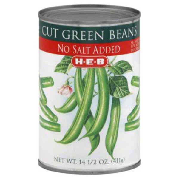 H-E-B No Salt Added Cut Green Beans