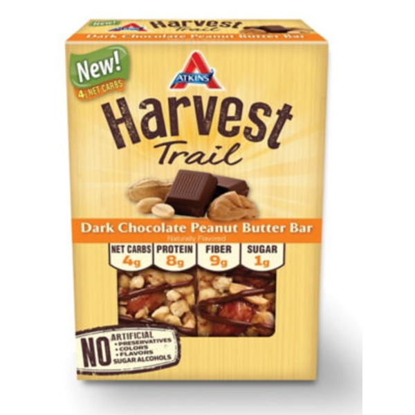 Atkins Harvest Trail Dark Chocolate Peanut Butter Snack Bars