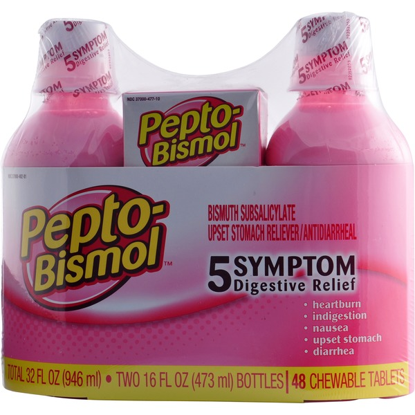 Pepto-Bismol Multi-Symptom Pepto-Bismol Original Liquid 5 Symptom Medicine - Including Upset Stomach & Diarrhea Relief 2-16 oz+48ct chewables Stomach Remedy