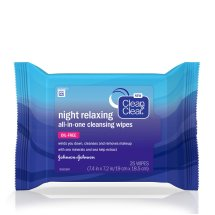 Clean & Clear Night Relaxing All-In-One Facial Cleansing Wipes, 25 Count